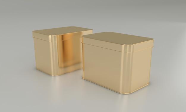 Golden square food in metalldose