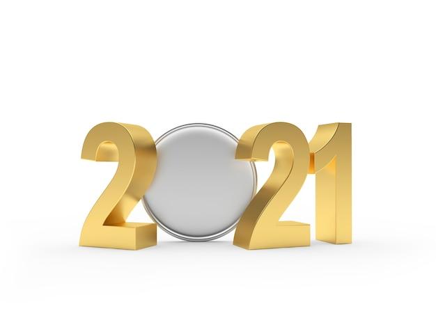 Goldene 2021 zahlen und leere münzen