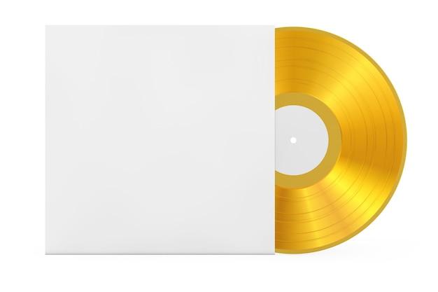 Goldene alte schallplatte in leerem papieretui mit freiem platz für ihr design auf weißem hintergrund. 3d-rendering