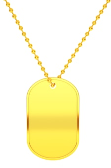 Goldene armee-identitäts-tag auf weißem hintergrund. 3d-rendering