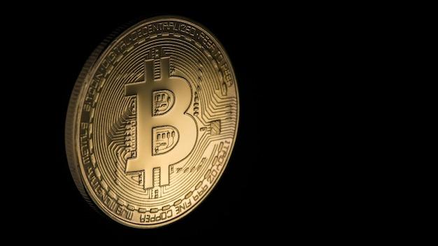 Goldene bitcoin auf schwarzem hintergrund mit kopienraum. elektronisches geld isoliert