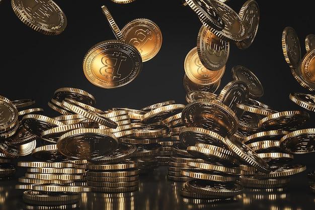 Goldene bitcoin (btc)-münzen, die von oben in die schwarze szene fallen, digitale währungsmünze für finanzen, token-austauschförderung. 3d-rendering