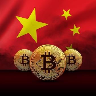 Goldene bitcoin-münze auf dem hintergrund der chinesischen flagge. kryptowährungskonzept
