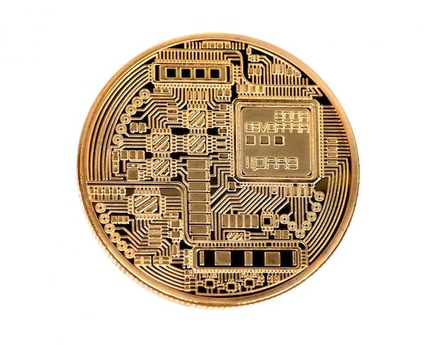 Goldene bitcoin-münze hautnah