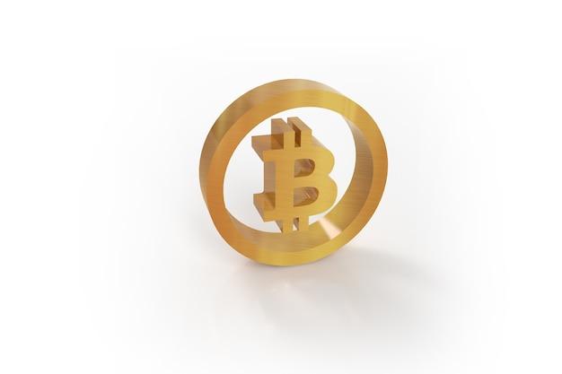 Goldene bitcoin-münze kryptogeld isoliert auf weißem hintergrund