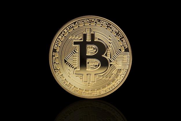 Goldene bitcoin-münze