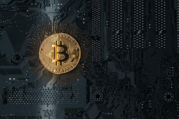 Goldene bitcoins auf dem chip. krypta der sicherheit. virtuelles geld. bergbau. sicherheit.