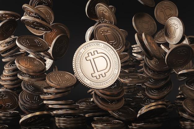 Goldene dogecoin (doge) münzen, die von oben in die schwarze szene fallen, digitale währungsmünze für finanzen, token-austauschförderung. 3d-rendering
