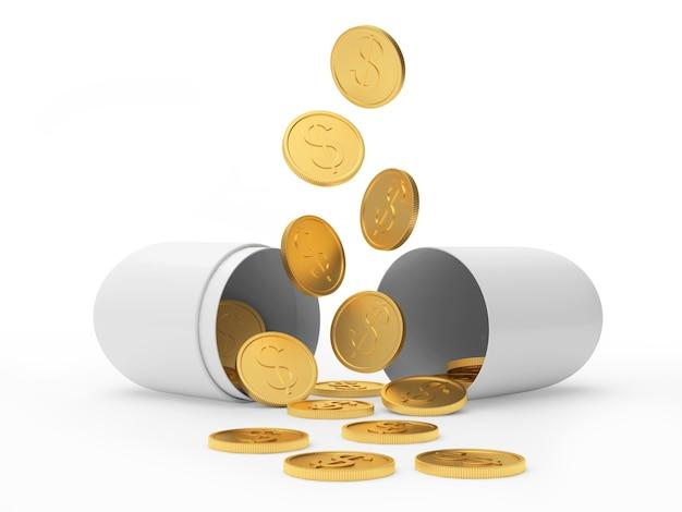 Goldene dollar-münzen, die auf weiße offene medizinische kapsel gießen