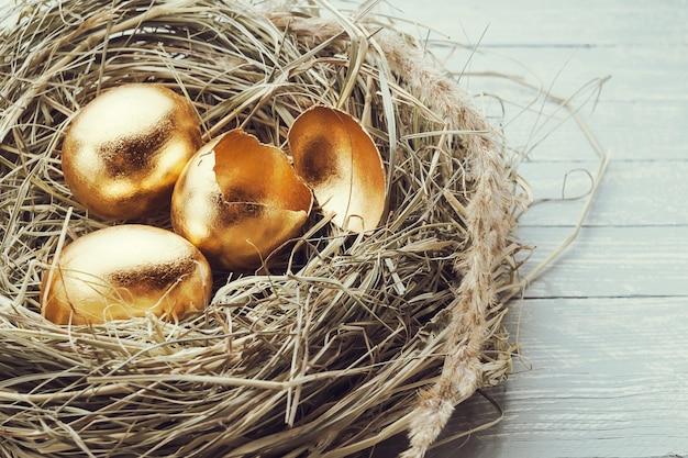 Goldene eier im nest, ein zerbrochenes ei