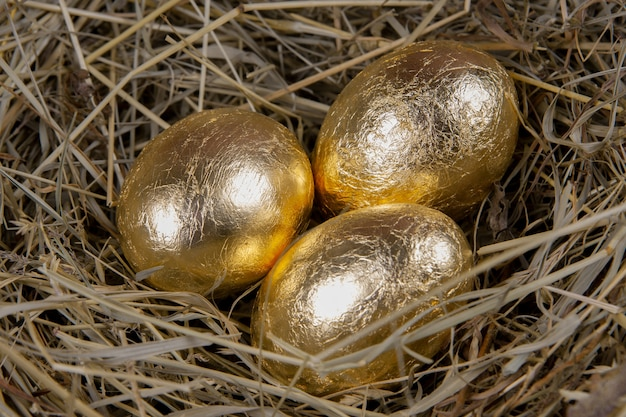 Goldene eier in einer nestoberansicht. konzept ostern.