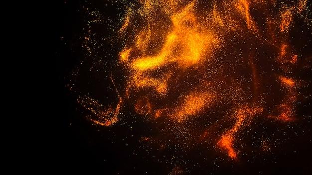 Goldene farbwolke mit glitzer im wasser auf schwarzem hintergrund isoliert