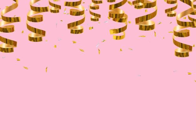 Goldene glänzende spiralen streamer und konfetti mit platz für text festlicher weihnachtshintergrund