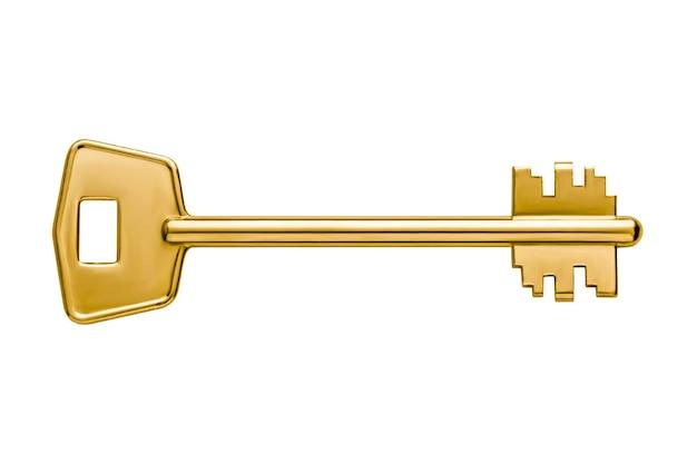 Goldene glänzende wohnungsschlüssel des metalls lokalisiert auf weißem hintergrund, flacher schlüssel