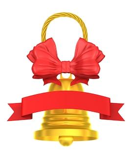 Goldene glocke. isoliertes 3d-rendering