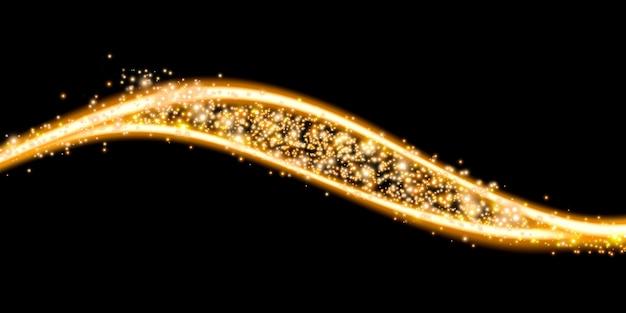 Goldene glühkurve funkelnde bokeh-lichtemissionslinie 3d-darstellung