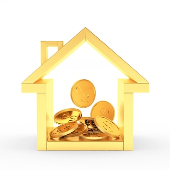 Goldene hausikone mit stapel von münzen nach innen
