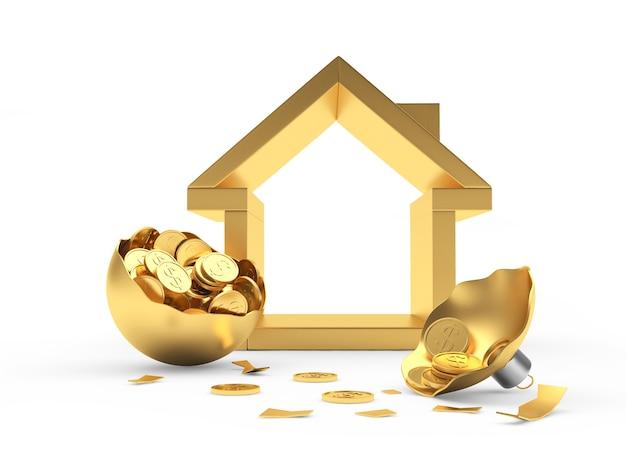Goldene hausikone und zerbrochener weihnachtsball voller münzen