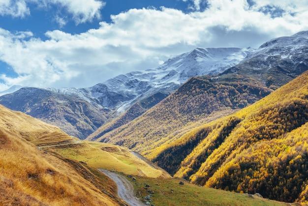 Goldene herbstlandschaft zwischen den felsigen bergen in georgia. steinstraße. europa