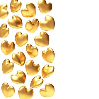 Goldene herzen auf weißer oberfläche
