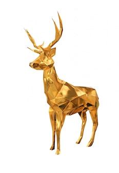 Goldene hirschstatue isoliert.