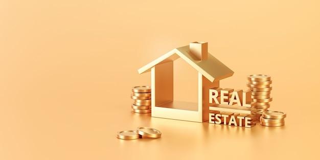 Goldene immobilien- oder wohnimmobilieninvestition auf goldenem hintergrund mit wohnfinanzierungswirtschaft. 3d-rendering.