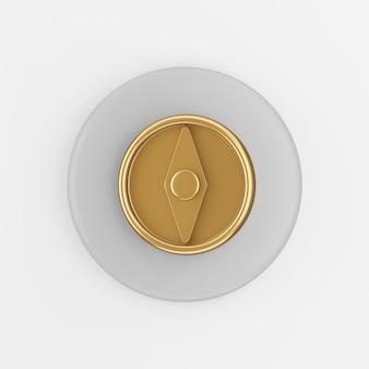Goldene kompassikone. grauer runder schlüsselknopf des 3d-renderings, schnittstelle ui ux element.