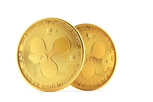 Goldene kräuselungsmünzen auf weißem hintergrund. enthält beschneidungspfad
