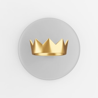 Goldene kronenikone. grauer runder schlüsselknopf des 3d-renderings, schnittstelle ui ux element.