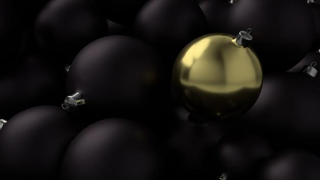 Goldene kugel des neuen jahres über dem hintergrund der schwarzen kugeln. 3d-rendering.