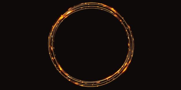 Goldene lichtkurve abstrakter kreishintergrund funkeln funkeln 3d illustration