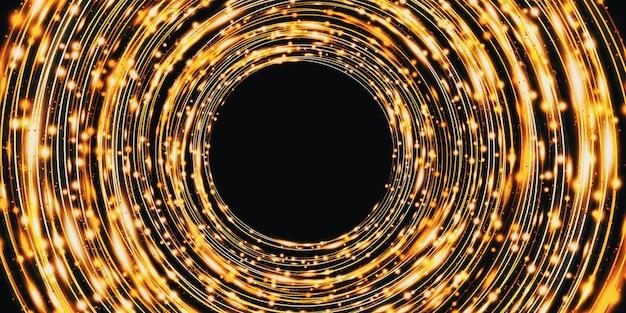 Goldene lichtkurve abstrakter kreishintergrund funkeln funkeln 3d