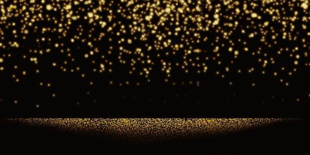 Goldene lichtpunkte, die auf glitzerhintergrund fallen glänzendes goldenes bokeh-partei goldenes leuchtendes konfetti auf 3d-illustration des schwarzen hintergrunds