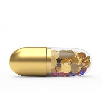 Goldene medizinische kapsel mit münzen und pillen im inneren