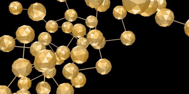 Goldene mehrdimensionale würfelverbindung geometrische netzwerkobjekte mit sechseckigen formen vernetzen