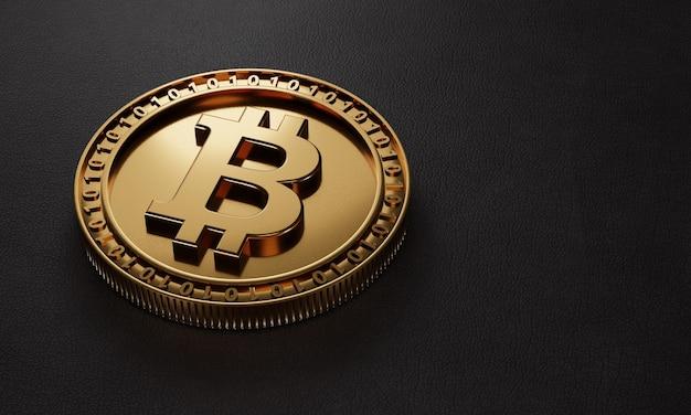 Goldene metallische bitcoin-kryptowährung der nahaufnahme auf schwarzem lederhintergrund