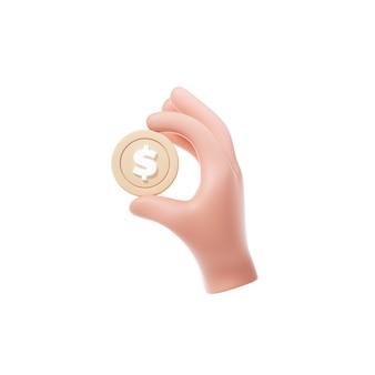 Goldene münze, die symbol hält