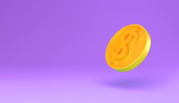 Goldene münze mit dollarzeichen minimale karikatur 3d rendern illustration