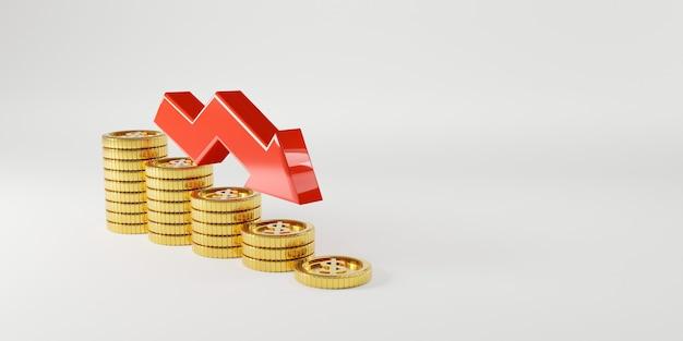 Goldene münzen, die mit abnehmendem roten pfeil auf weißem hintergrund stapeln und platz für wirtschaftliche investitionsgewinne und zinseinlagen aus sparkonzept, 3d-rendering-technik kopieren.