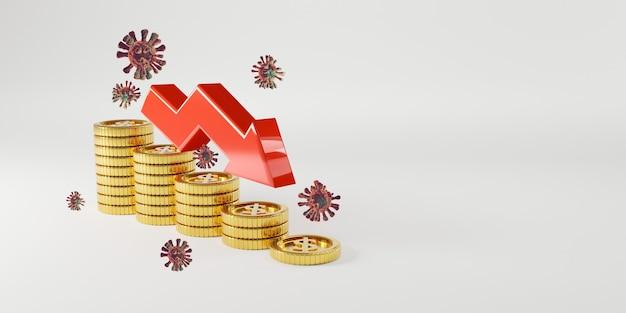 Goldene münzen, die mit abnehmendem roten pfeil von corona-virus oder covid-19 stapeln, die sich auf den wirtschaftlichen investitionsgewinn und die zinseinlage aus dem sparkonzept auswirken, 3d-rendering-technik.