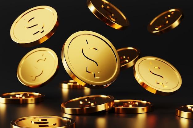 Goldene münzen fallen auf schwarz. 3d-rendering-illustration