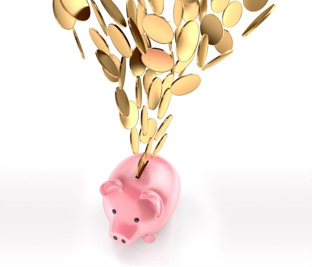 Goldene münzen fallen in sparschwein, draufsicht. 3d-rendering