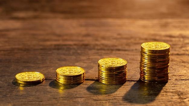Goldene münzen mit jungpflanze. konzept zur steigerung des geldwachstums.