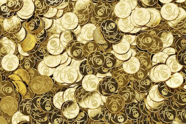Goldene münzen mit schädelsymbol