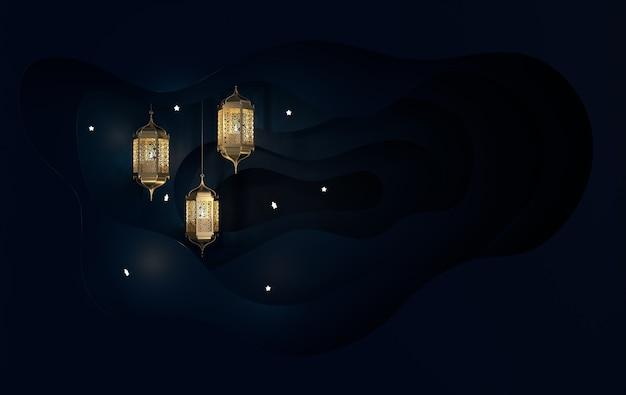 Goldene muslimische laterne mit kerze, lampe mit arabischer dekoration, papierwellen, arabeskenentwurf