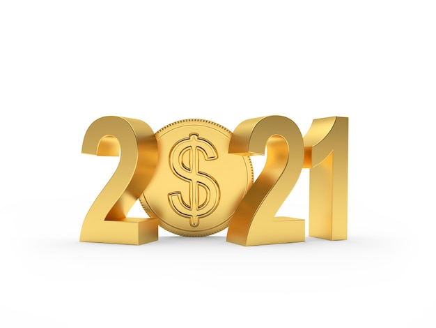 Goldene nummer 2021 und dollarmünze