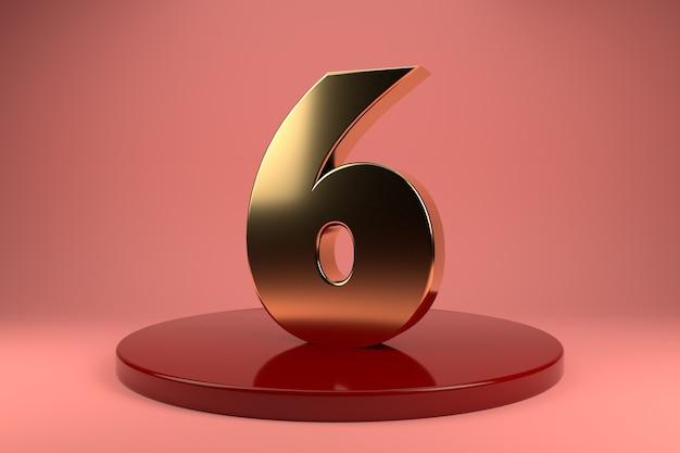Goldene nummer 6 am stand