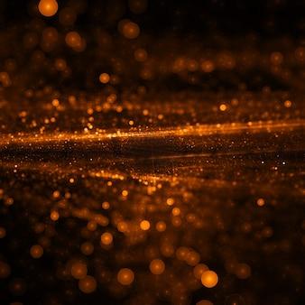 Goldene partikel bokeh tapeten in 3d-stil