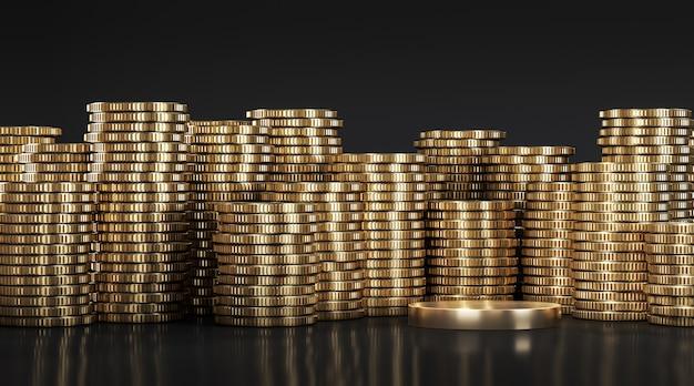 Goldene plattform zwischen goldenen münzen, die in verschiedenen positionen aufeinander gestapelt sind. 3d-rendering