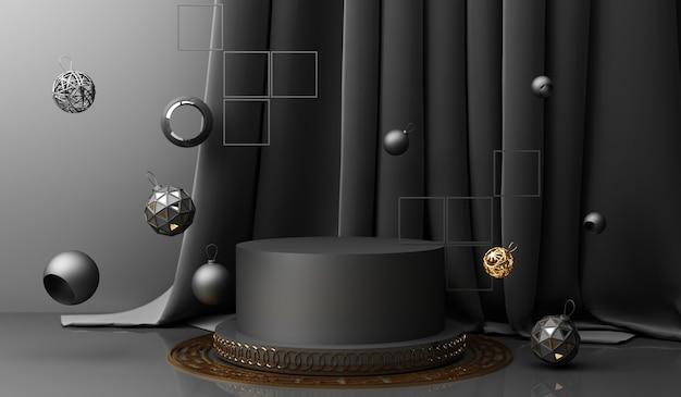Goldene podestanzeige auf schwarzem abstraktem hintergrund mit geometrischer form und minimaler porzellanpräsentation des vorhangprodukts